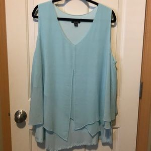 Light Blue Alyx dressy top. Sleeveless